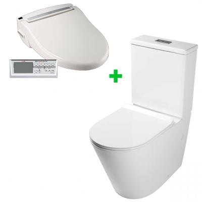 Комплект электронное биде SATO DB500R + напольный безободковый унитаз MEER