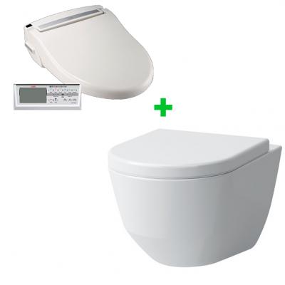 Комплект электронное биде SATO DB500R + подвесной безободковый унитаз Laufen Pro